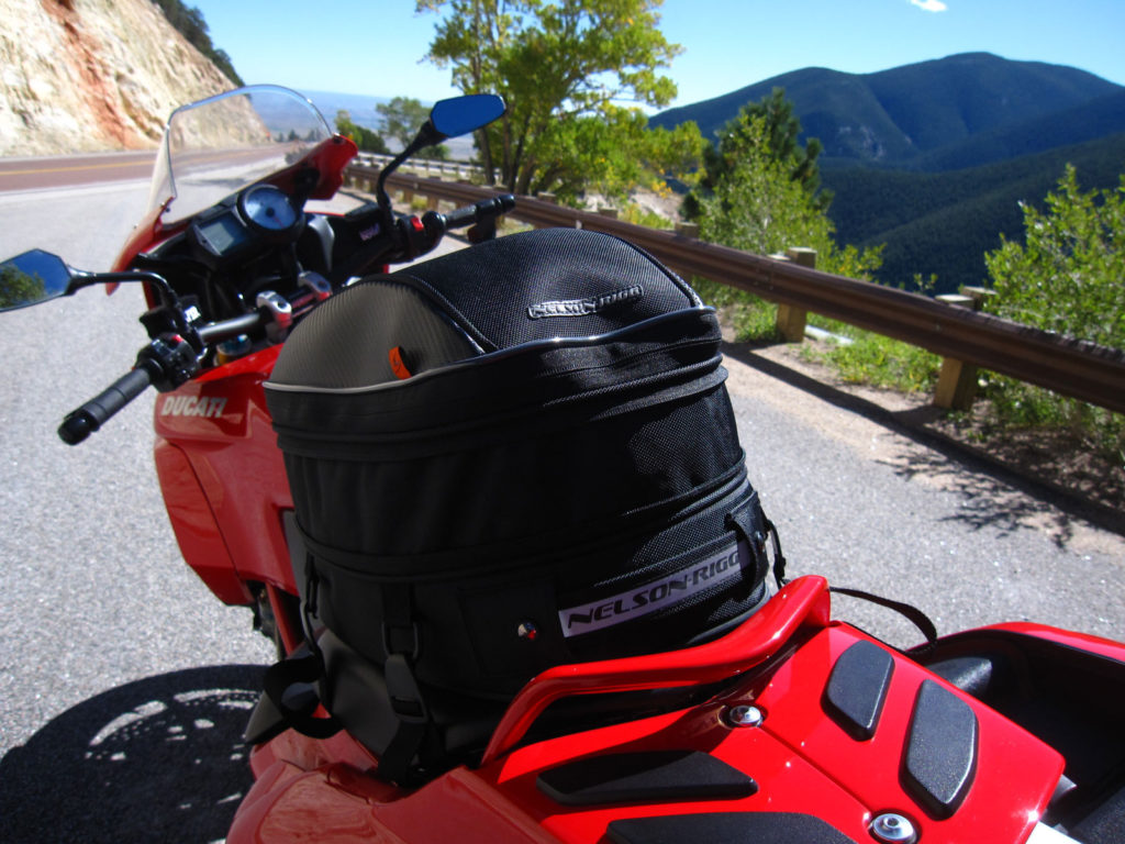 Nelson Rigg CL-1060 Tail Bag expanded and mounted on a motorcycle