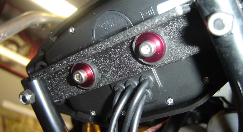Backside of the Trail Tech Vapor Dashboard Kit, mounted on a Suzuki SV650