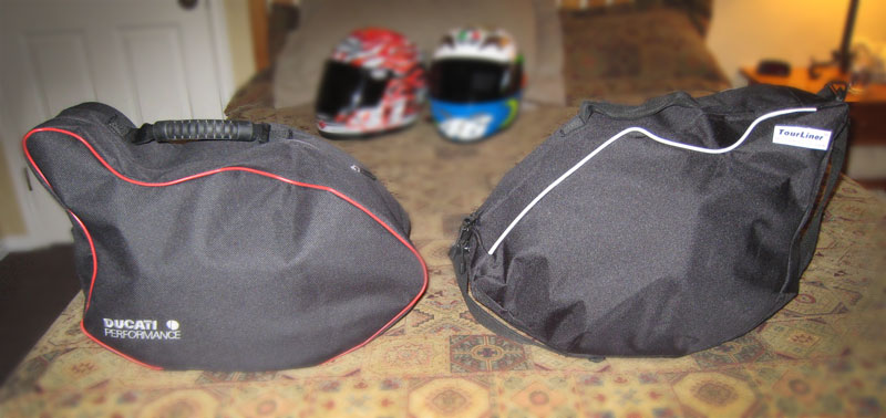 Ducati Performance Luggage Liner Next to a MotoPouch Luggage Liner