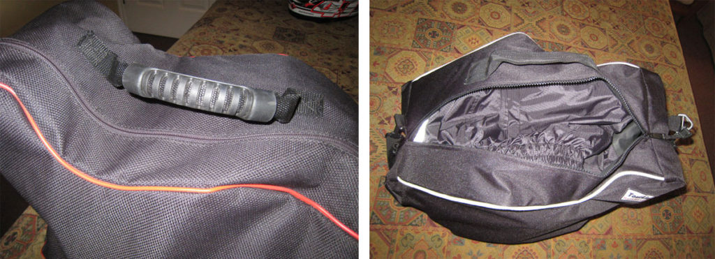 Grab handle on the Ducati Performance Luggage Liner compared to the handle on the MotoPouch Luggage Liner