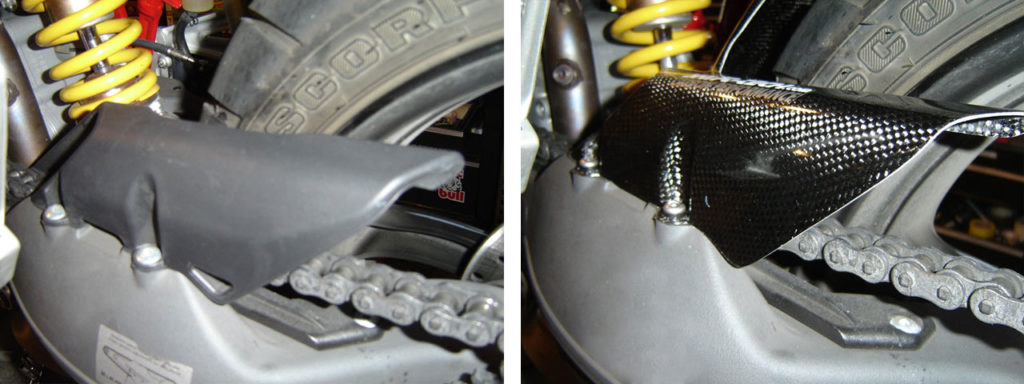 Comparison between the Shift Tech Carbon Fiber Hugger and the Original Ducati Fender