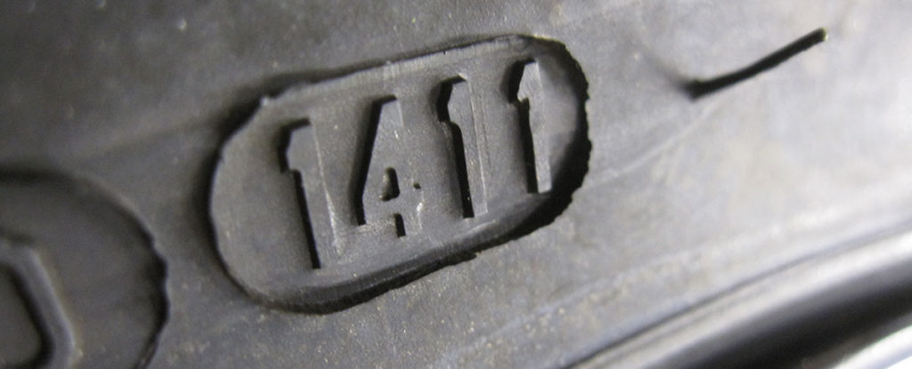 Motorcycle tire date stamp