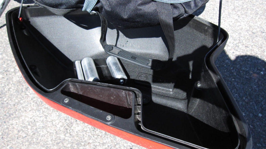Wheel jockey packed in a motorcycle saddlebag