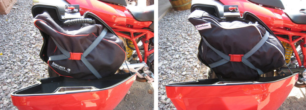Ducati Performance Luggage Liner fitment in the Ducati saddlebag compared to the MotoPouch Luggage Liner