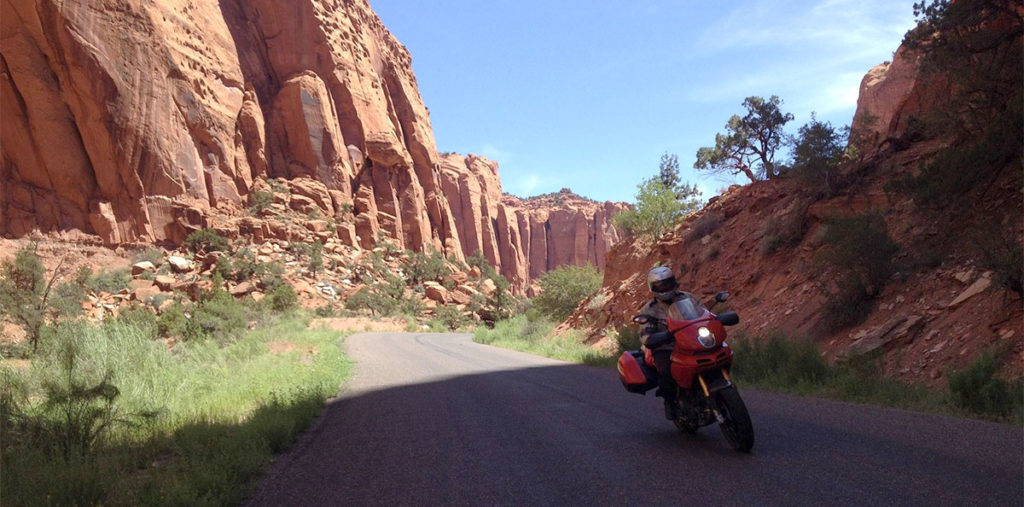 Ducati Multistrada Utah Red Rock Canyon Mountain Road cornering Pirelli Angel GT