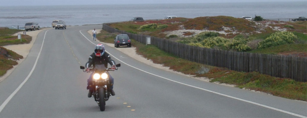 Riding the Triumph Speed Triple 955i along the pacific coast highway