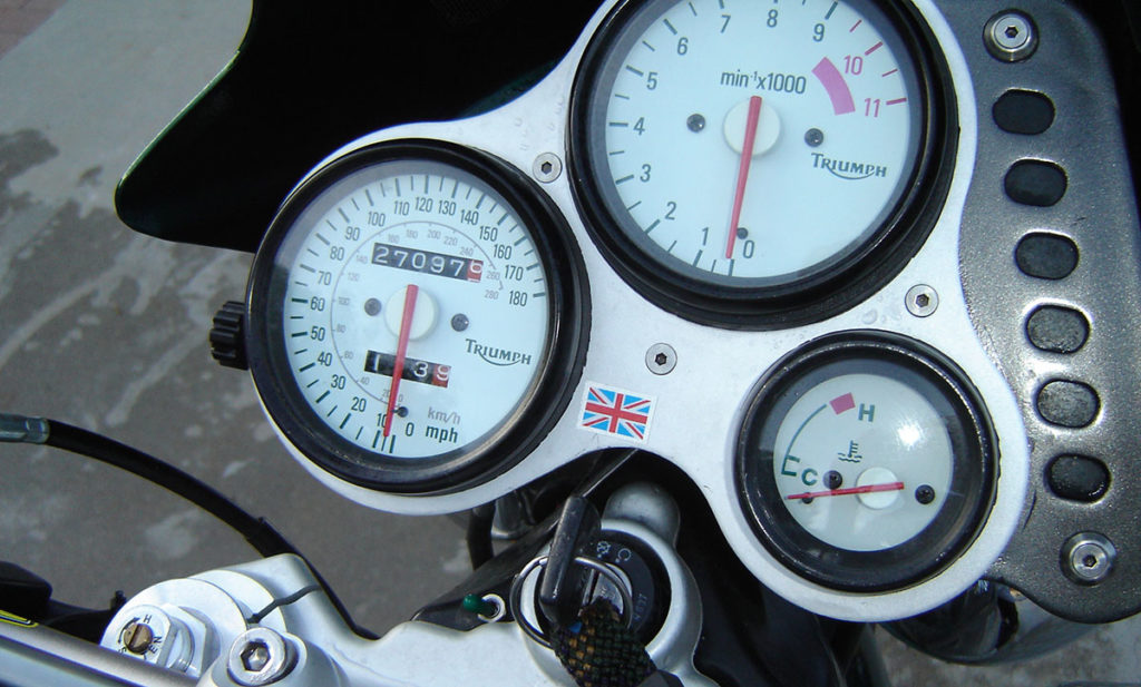 Triumph motorcycle speedometer and tachometer