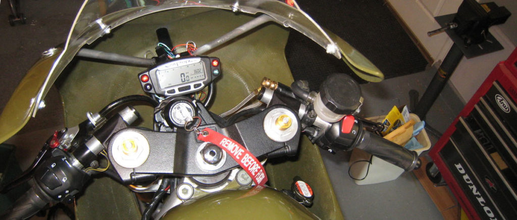 Completed instalation of the Trail Tech Vapor Dashboard Kit on a Suzuki SV650 Race Bike