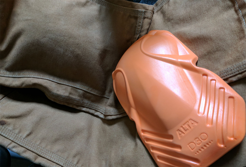 Alta D3O Knee armor inserted into Carhartt Double-Front Dungarees