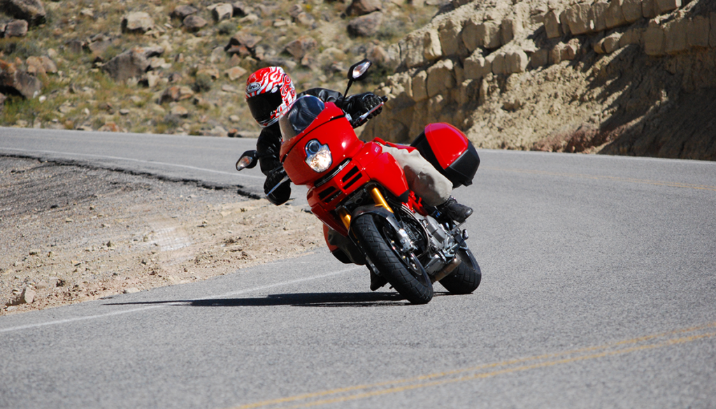 Ducati Multistrada 1100S Riding through a corner